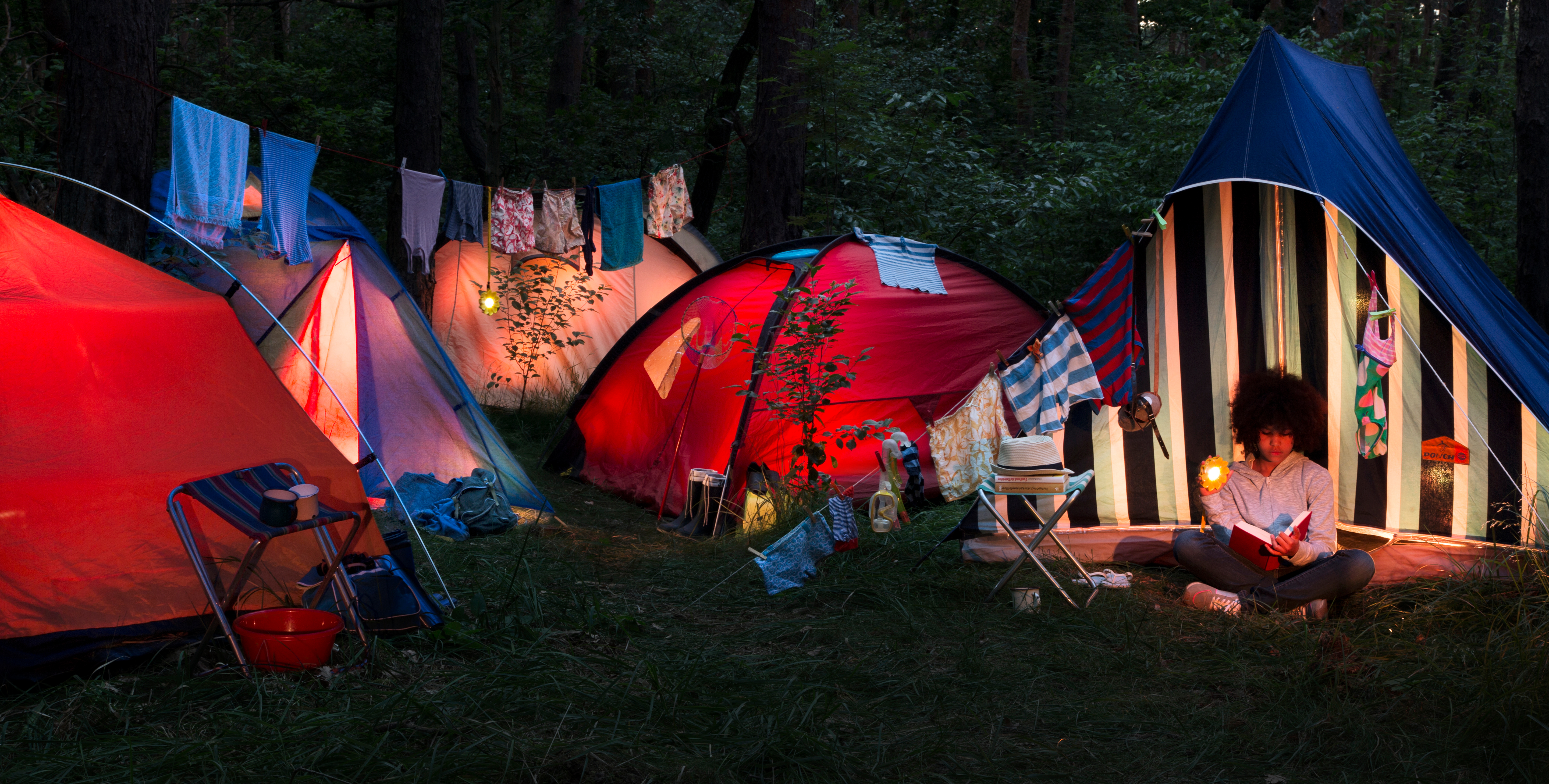 camping with little sun solar lamp